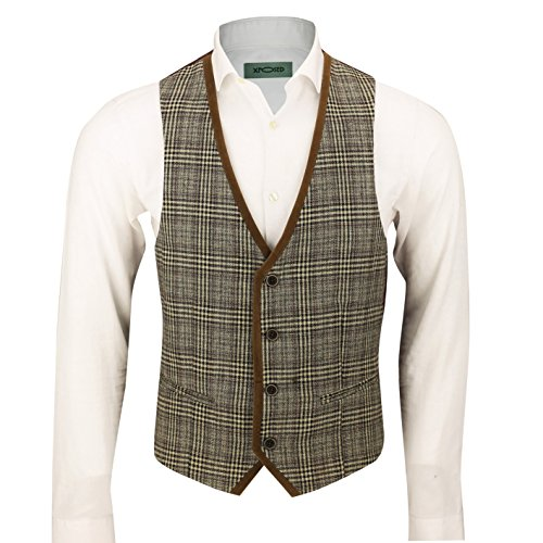(Mens Vintage Herringbone Tweed Check Velvet Trim Retro Tailored Fit Waistcoat Vest in Oak Brown Grey [Chest UK 50 EU 60,Brown-Tan-Collar])