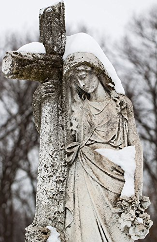 Magdalene Statue Photograph - Matted Wall Art, Catholic Religious Photography, Cemetery Print, snow, Winter