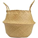 """RISEON Natural Seagrass Belly Basket Panier Storage Plant Pot Collapsible Nursery Laundry Tote Bag with Handles (18"""" (45x36cm))"""