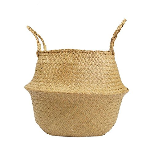 RISEON Natural Seagrass Belly Basket Panier Storage Plant Pot Collapsible Nursery Laundry Tote Bag with Handles (18 (45x36cm))