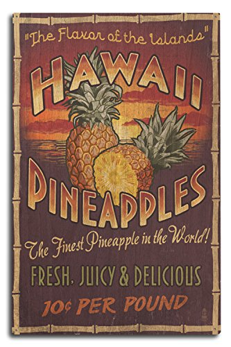 Lantern Press Hawaiian Pineapple Vintage Sign (10x15 Wood