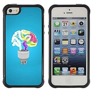 Pulsar Defender Series Tpu silicona Carcasa Funda Case para Apple iPhone 5 / iPhone 5S , Funny Brain Light