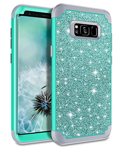 Lontect Compatible Galaxy S8 Plus Case Luxury Glitter Sparkle Bling Heavy Duty Hybrid Sturdy Armor High Impact Shockproof Protective Cover Case for Samsung Galaxy S8 Plus - Shiny Teal