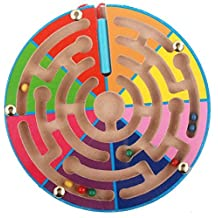Anthonygift® Round eight color ball pen track handling maze colorful wooden magnetic maze toys wooden toys