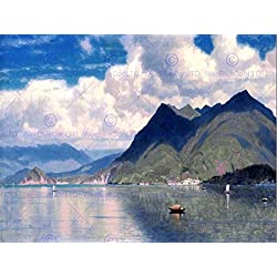 PAINTING LANDSCAPE HASELTINE LAKE MAGGIORE POSTER ART PRINT BB12145B