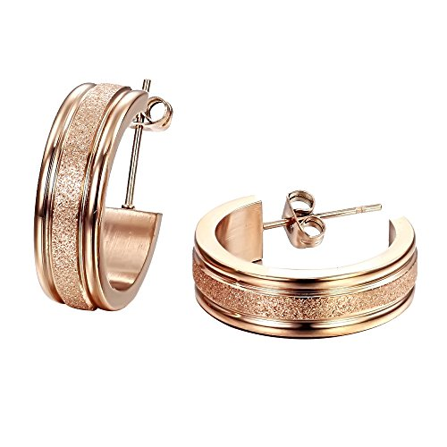 Opk Jewelry Fashion Womens Earrings Rose Gold Dull Polished Circle Stainless Steel Hoop Earring