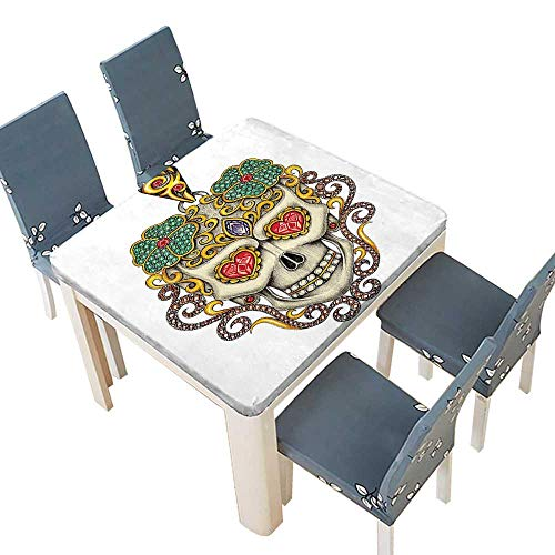 PINAFORE Polyester Tablecloths The Dead Decor Sugar Skull Heart Pendants Floral Jewelry Print White Indoor Outdoor Use 65 x 65 INCH (Elastic Edge) ()
