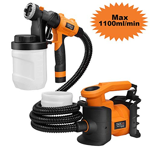 Paint Sprayer, Tacklife SGP16AC Professional 800W Spray Gun MAX Flow 1100ml/min Paint Container with 3 Copper Nozzle Sizes, 2 PCS 1200ml Detachable Containers for Painting