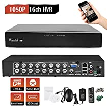 Westshine 16CH 1080P AHD/TVI/CVI/Analog/IP Hybrid DVR, H.264 HD 1920x1080P CCTV Digital Video Recorder, Support Onvif, Motion Detection, Email Alert, Remote Access, P2P Cloud (NO HDD)