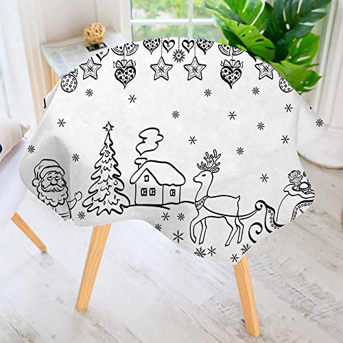 UHOO2018 100% Polyester Printed Table Cloth-Tree Ornaments Santa Sleigh Rudolph Reindeer Toys Jingle Bells Hand Drawn Style Black Ideal for Home, Restaurants, Cafés 43.5