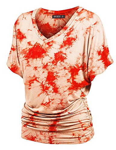 Lock and Love WT1114 Womens V Neck Short Sleeve Tie Dye Shirring Dolman Top M -