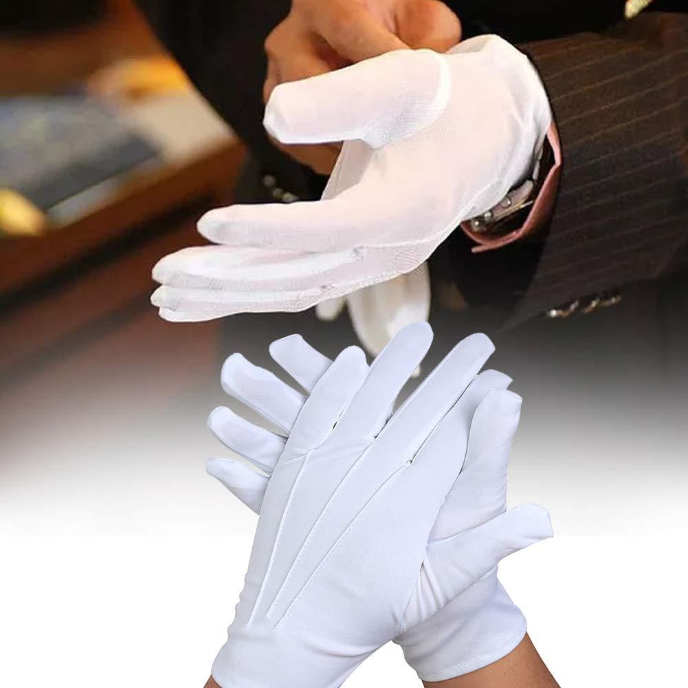 Antideslizantes Guantes de Etiqueta de camareros GCDN 1 par de Guantes Blancos Lavables Reutilizables Guantes de Dedos completos Guantes de Seguridad para la construcci/ón