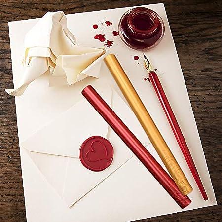 Xiangmall 15 Piezas Cera de Sellado Vintage Barras de Cera para Lacre Cera Pistola Invitaciones de Boda Sobres Tarjetas Envoltorio de Regalo (vino rojo, cobre, oro)