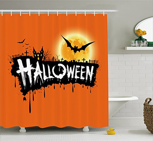 Halloween Decorations Shower Curtain by Ambesonne, Spooky Party Theme Flying Bats and Full Moon Grunge Style Retro Art, Fabric Bathroom Decor Set with Hooks, 84 Inches Extra Long, Orange Black -