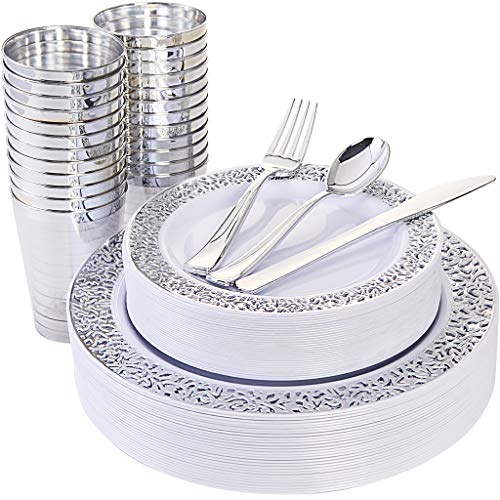 Silverware Plates Plastic (150 Piece Silver Lace Plastic Plates & Silver Plastic Silverware, Service for 25 Guests : 25 Dinner Plates,25 Dessert/Salad Plates 25 Forks,25 Knives, 25 Spoons, 25 Cups.)