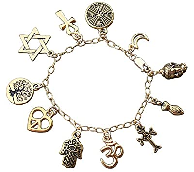 World Religions Peace Coexist Charm Bracelet- 22k Gold Plated Charms,14k Gold-fill Chain- Sizes XS-XL from Night Owl Jewelry