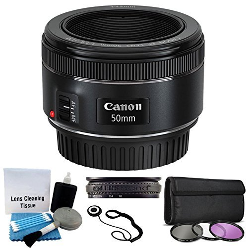 Canon EF 50mm f/1 8 STM Lens For Canon Cameras With 3 Piece Filter Kit (UV-CPL-FLD) + Lens Cleaning Kit