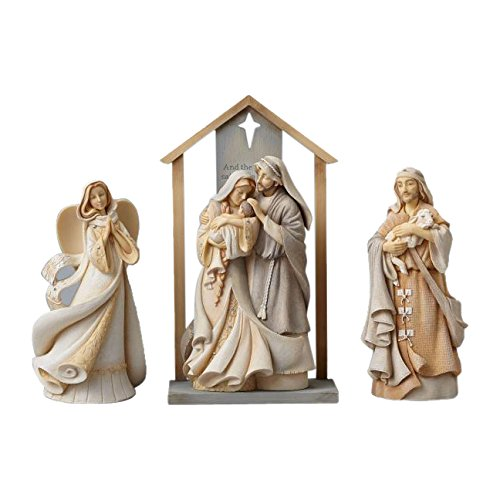 Foundations Nativity Set with Stone Resin Figurines, Set of 4