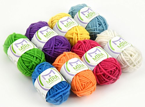 Mira Handcrafts 8 Yarn Skeins – Total of 176 Yards DK Yarn for Crafts, Knitting and Crochet – 7 Ebooks with Yarn Patterns Included – Great Starter ()