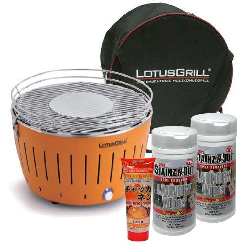 Barbacoa de carbón sin humo Estufa Lotus Grill Set de limpieza Naranja g-or-34-cs