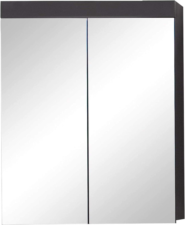 Trendteam Smart Living Badezimmer Spiegelschrank Spiegel Amanda 60 X 77 X 17 Cm In Grau Front Agave Grau Hochglanz Mit Viel Stauraum Inklusive Beleuchtung Küche Haushalt