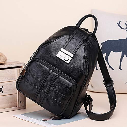 Bandolera Ir Backpack A Mujer Pu De Negro Cuero Para Compras Vintage Daypack Diario Bolsos Mano Vacaciones Viajar Strir Mochila Mochila Citas C1aBwPXaq