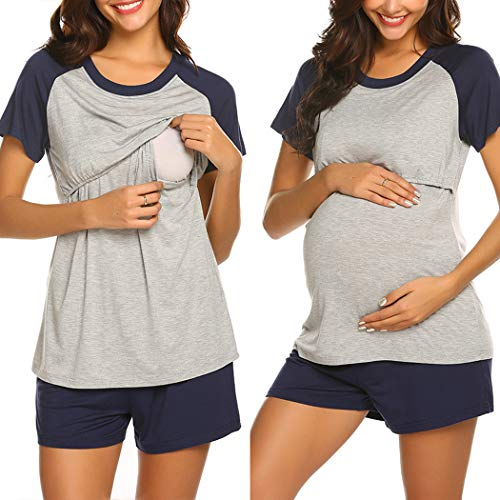 Ekouaer Women 2 Piece Pajamas Sets Nursing Tops and Shorts Cotton Nighty Loungewear Christmas PJ Sets (Navy Blue L)