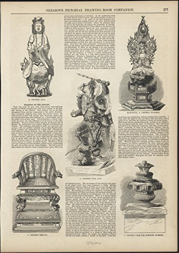 Religion of the Chinese Throne War God Goddess Idol 1853 antique wood engraving