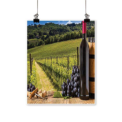 Hanging Painting Red W e Bottl GRAP Timber Board Tuscany Italian Terrace Scenery Rich in Color,16