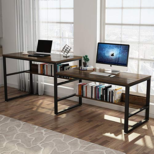 Tribesigns 94.48'' Computer Desk with Shelf, Extra Large Sit and Standing Desk for Two Person, Simple Writing Desk in Rustic Finish, Double Workstation for Home Office (Sit and Stand Table)