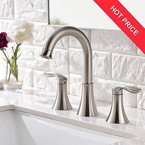 Friho Lead-Free Commercial Two Handle Three-Hole Brushed Nickel Bathroom Vanity Sink Faucets Widespread Bathroom Faucet