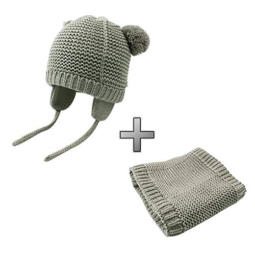 BAVST Baby Girls Boys Winter Hat Scarf Set Pompom Warm Knit Beanie and Neck Warmer with Fleece Lining 2pcs for 0-2 Years (Grey 2, L(10-24M))