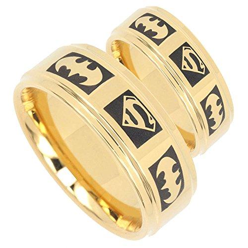 Batman & Superman Tungsten Positive Engraved Gold IP Step Edges 2 pcs Ring Set Size 6, 11