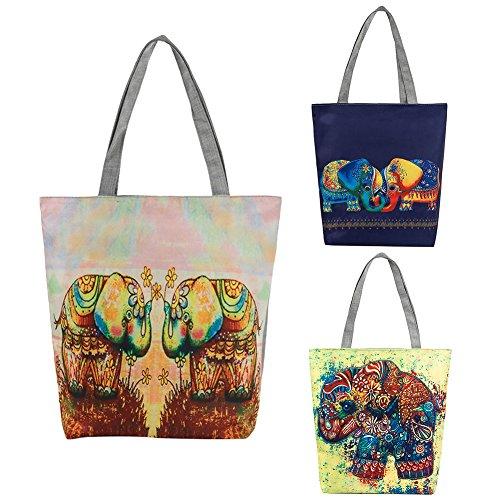 Yonglh6c Bolso Compra Étnico Mujer La Elefante Lona De 4 Con Informal Para Mano 1 rrqBfT