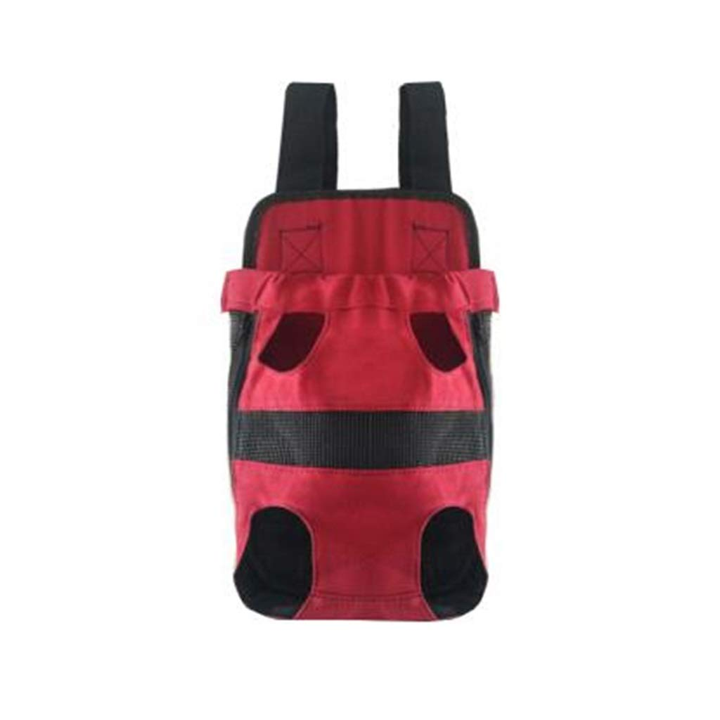 4833 Double Shoulder Pet Bag Mesh Fabric Comfortable and Convenient Outgoing Chest Pack, Cat Bag, Dog Bag, Teddy Pet Canvas Backpack Red