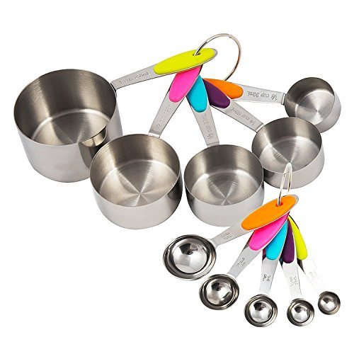Stainless Steel Measuring Cups and Spoons 10pcs Set with 2 Easy Removable Rings and colorfulsiliconehandles for Accurate Liquid and Dry Measuring- Stackable, Dishwasher Safe