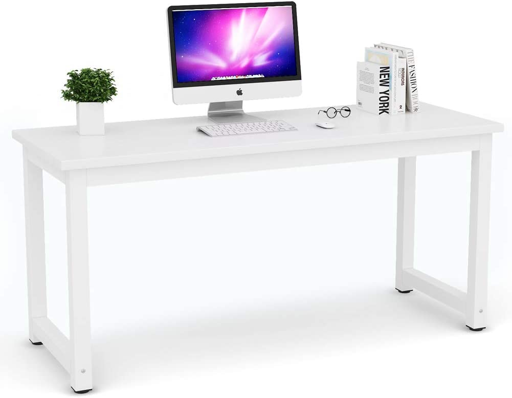 Tribesigns Computer Desk, 63 inch Large Office Desk Computer Table Study Writing Desk for Home Office, White