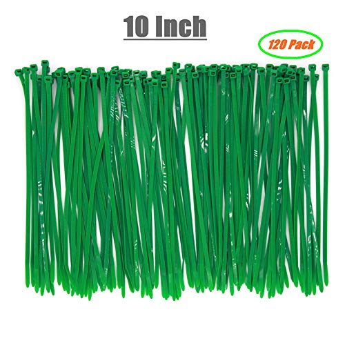 Durable Strong 10 Inch 120 Strips Dark Green Cable Zip Ties, Upgrade Heavy Duty 50 LBS Fastening Artificial Greenery Plant, Electric Cord Management Wire Zip Ties, Garden Plant Ties UV Resistant Outdo