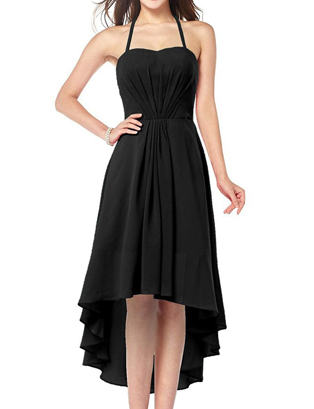 Black Uther Plus Size Bridesmaid Dresses Long Aline Halter Hi Lo Evening Prom Party Gown