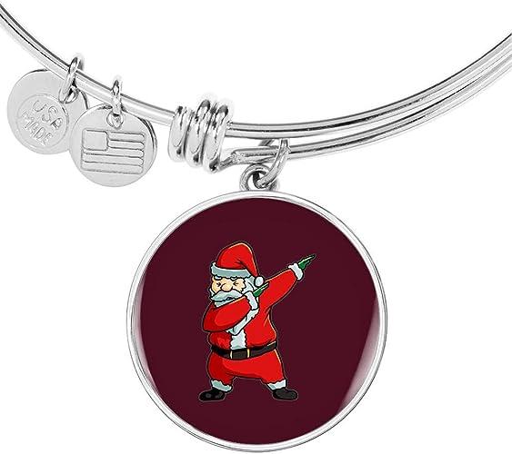 Santa Womens Pendant Bangle Bracelet Stocking Stuffer Gifts Santa Dancing
