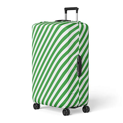 Pinbeam Luggage Cover Green Line Diagonal Stripe Pattern Abstract Candy Cane Travel Suitcase Cover Protector Baggage Case Fits 26-28 ()