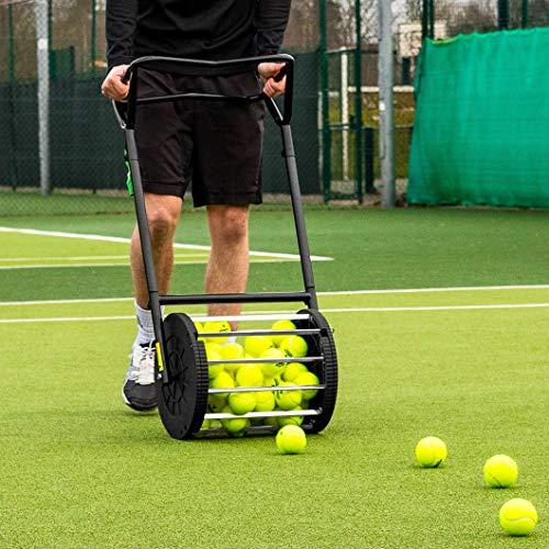 Vermont Tennis Ball Roller Mower & Hopper - 85 Ball Capacity Pickup Hopper with Lockable Lid (Best Tennis Ball Mower)