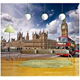 wall26 - London. Classic Red Double Decker Buses on Westminster Bridge. - Removable Wall Mural   Self-adhesive Large Wallpaper - 66x96 inches