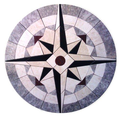 "Tile Floor Medallion Marble Mosaic Compass Star Design 42"""