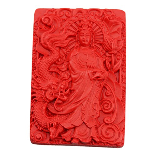 - FOY-MALL Cinnabar Kwan-yin against Dragon Pendant D1004 by FOY-MALL