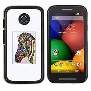EJOOY---Cubierta de la caja de protección para la piel dura ** Motorola Moto E ** --Zebra Art Dibujo Acuarela