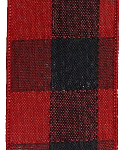 Woven Check Wired Edge Ribbon - 10 Yards (Black, Red, 4