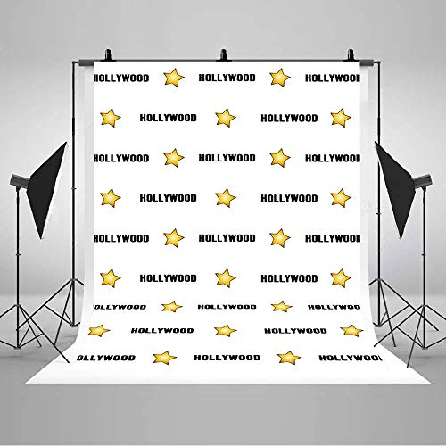 COMOPHOTO Hollywood Star Backdrop for Red Carpet Events Step and Repeat Celebrity Birthday Banner Photography Party Decorations Photo Booth Background Studio 5x7ft (Red Fashion Carpet Hollywood)