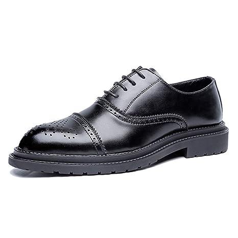 HILOTU Zapatos de vestir Oxford para hombre Moda casual Clásico Retro Colores de pincel Zapatos Brogue