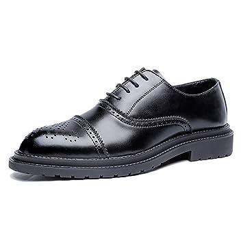 b3ade71e HILOTU Zapatos de vestir Oxford para hombre Moda casual Clásico Retro  Colores de pincel Zapatos Brogue Zapatos de oficina de boda (Color :  Negro-39 EU): ...